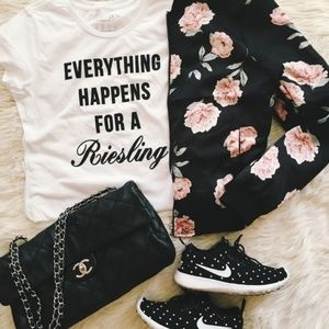 Everything Happens For A Riesling Statement Tee